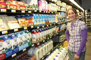 Angie Conjurske stocking dairy products